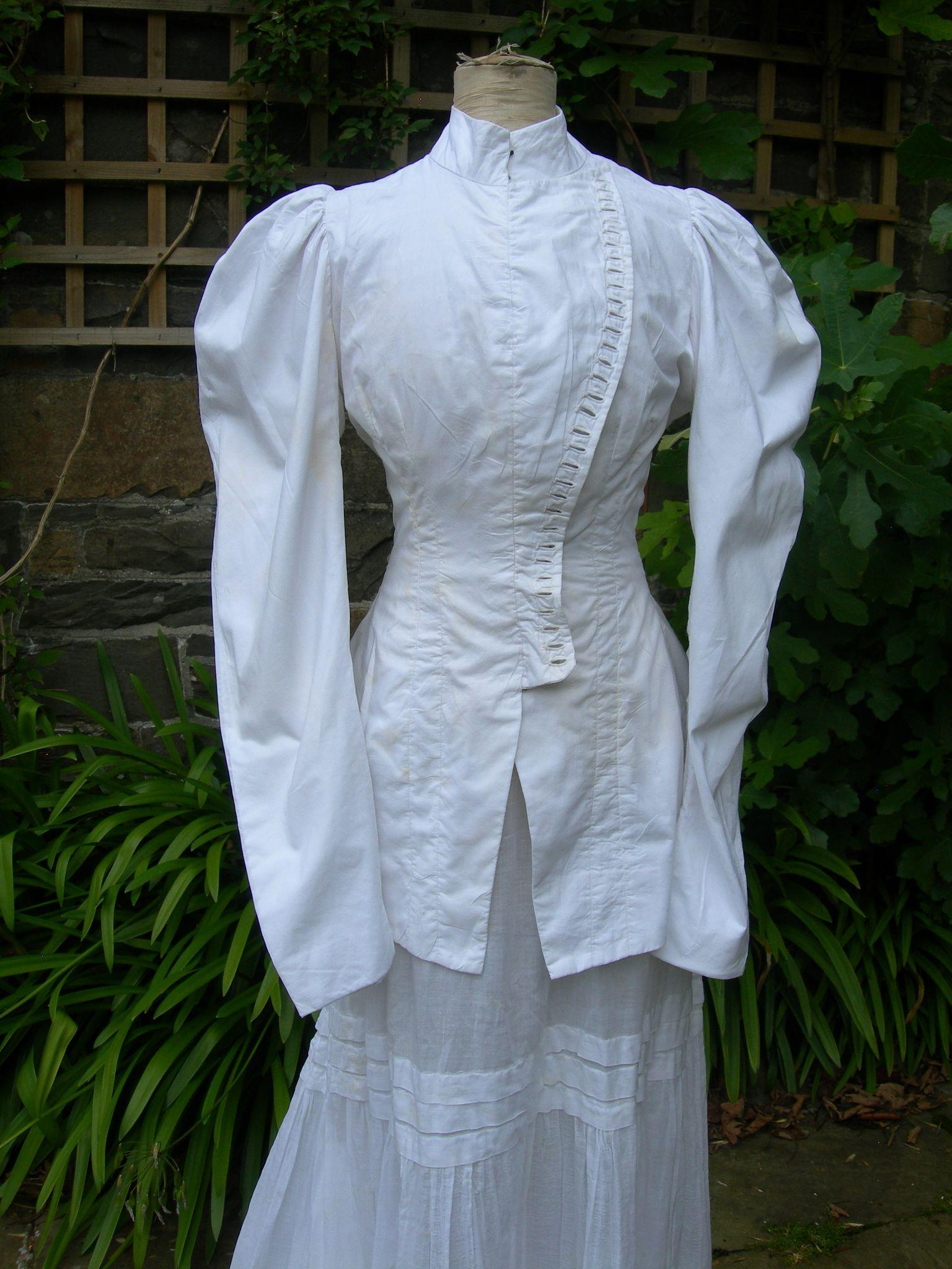 Antique French  Ladies 1906 Cossack corsage bodice & muslin skirt