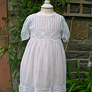 French child's toddler's lace & tulle over dress smock - handmade irish crochet lace inserts
