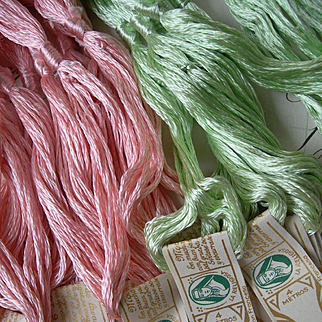 23 skeins antique French pure silk floss embroidery thread skeins circa 1900 - unopened packets with original labels