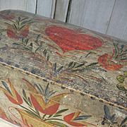 Beautiful antique French Folk Art 19thC domed lid wedding bride's trunk box
