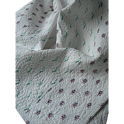 "Large hand stitched antique Durham Victorian English ""strippy"" quilt 1890s"