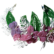 Beautiful antique French hand beaded flower tiara crown or wreath 1890s