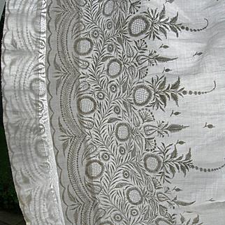 Exquisite antique Victorian hand embroidered muslin whitework skirt
