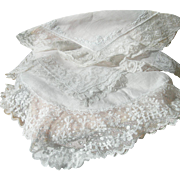 Antique Victorian 1880s hand embroidered silk handkerchief sachet + 4 lace & hand embroidered handkerchiefs