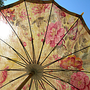 Vintage French 1920s cotton covered cabbage roses fabric parasol
