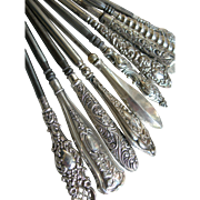 Private collection: 10 antique English silver Edwardian & Victorian hallmarked button hooks (B)