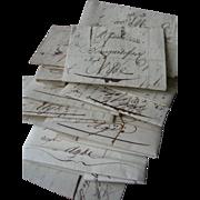 Bundle 14 French antique sepia script letters  1816 /1817 Napoleonic era