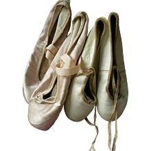 2 pairs French & Italian  leather & satin vintage ballet pointe shoes