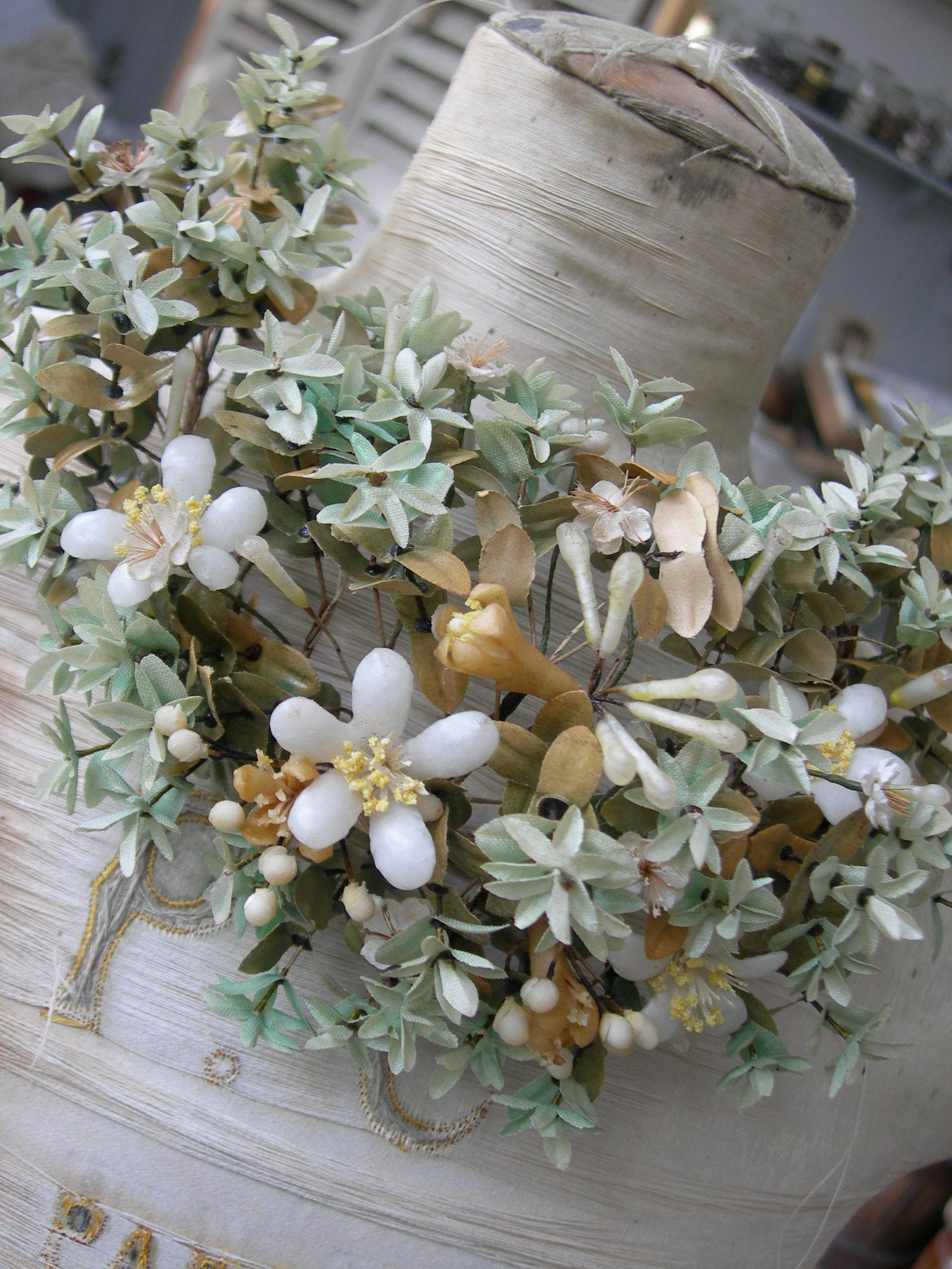 Antique French handmade wax flowers and fabric flowers wedding crown tiara - 1890