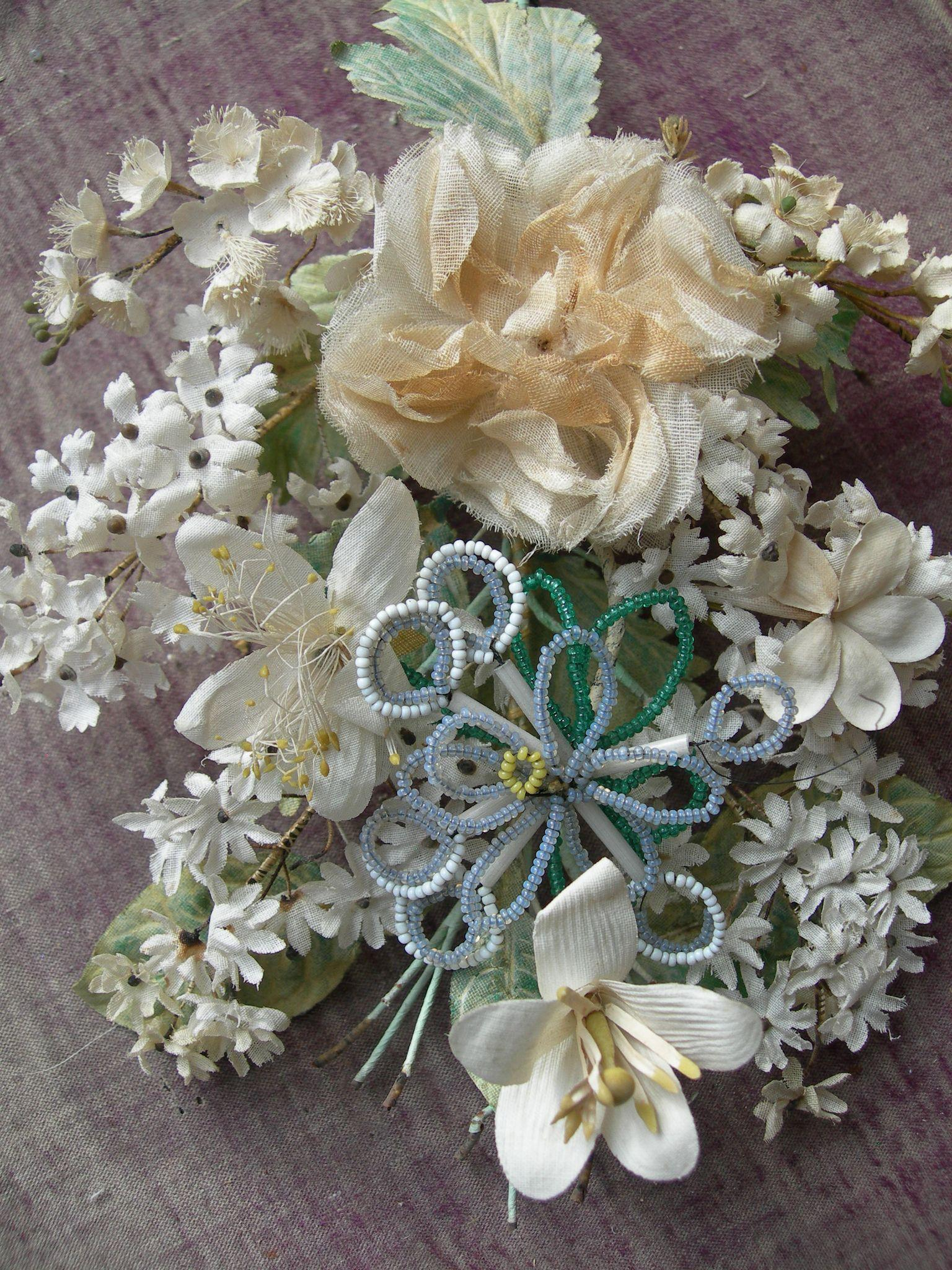 French 1860s handmade fabric flowers & glass beads wedding bridal posy bouquet corsage