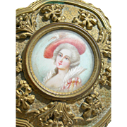 Beautiful antique French 19th century gilded ormolu boudoir trinket box with hand painted miniature portrait