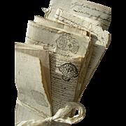 Bundle 12 antique letters 17th & 18thC French Revolution Marie Antoinette 1696 - 1774