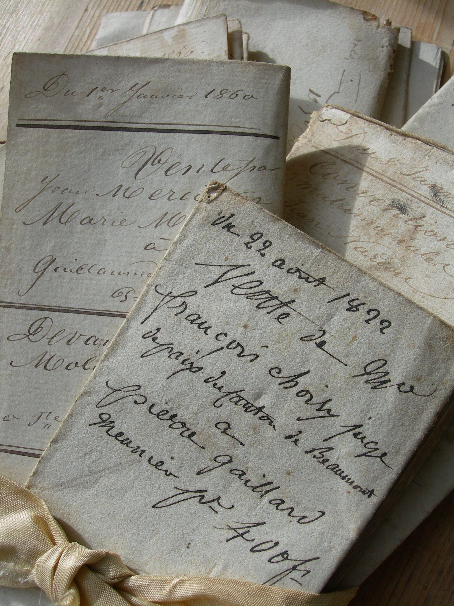 Bundle 9 antique letters early 19th Century 1822 - 1860 2nd French Revolution