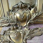 Large antique French 19th Century gilded bronze ormolu decorative surmount