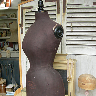 Rare unusual antique Victorian wasp waisted mannequin with original stand - or counter top