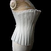 """Antique Victorian unworn """"Florence"""" pale blue wasp waist corset - fabulous condition"""