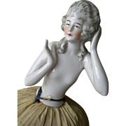Vintage French 1920s porcelain Boudoir half doll pin cushion