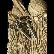Pair antique French 19th Century ornate silk passementerie key tassels with 2 keys