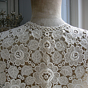 French Schiffli lace collar shoulder capelet  Bertha 1890s