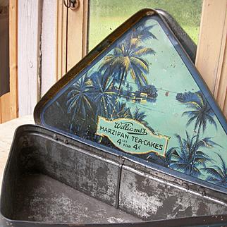 Charming unusual  Edwardian 1910 counter top display tin advertising biscuit cake box
