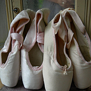 2 pairs vintage French ballet pointe shoes for shabby boudoir chic display