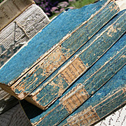 Set 4 antique French 1822 books - livres brochees - fabulous covers and spines - decorative books
