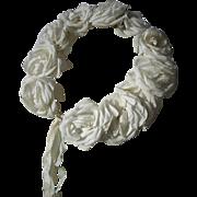 Charming  antique French wedding crown tiara plump fabric roses 1900