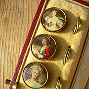 6 antique Victorian portrait lithograph waistcoat buttons in box