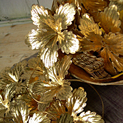 24 antique French convent-made gilded pressed paper flowers circa 1890 - Christmas