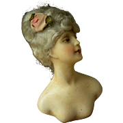 Rare antique French wax over plaster mannequin boudoir doll bust 1900