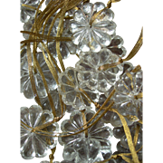 Collection 25 antique French 19th Century pressed glass chandelier daisies boutons - Christmas