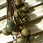 Collection 16 antique French bronze & metal goat bells - Christmas Jingle Bells!