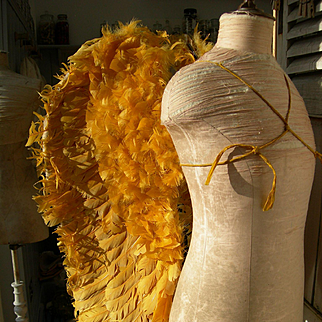 Rare pair antique Processional feather angel wings - Turmeric yellow