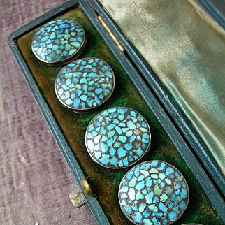 Boxed set 6 antique turquoise semi precious stone & white metal buttons