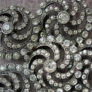 Boxed set 6 Edwardian 1910 paste diamante stone rhinestone buttons (strass)