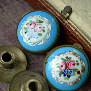 Pair (2) antique Victorian 19th Century enamel & silver foil Bachelor buttons - roses