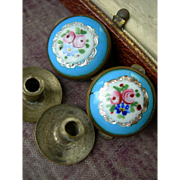 Pair (2) antique Victorian 19th Century enamel & silver foil Bachelor buttons - roses