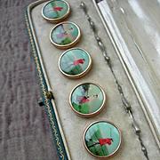 Boxed set 6 Edwardian lithograph gentleman's waistcoat buttons - golfing motifs