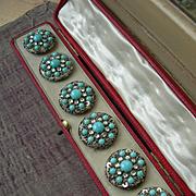 Boxed set 6 Edwardian 1910 paste diamante stone rhinestone beaded sequins & turquoise glass buttons