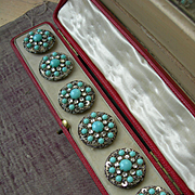 Boxed set 6 Edwardian 1910 paste diamante stone rhinestone beaded sequins & turquoise glass buttons