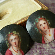 Pair (2) hand painted antique Victorian miniature portrait porcelain stud buttons - in original box