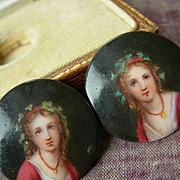 Pair (2) hand painted antique Victorian miniature portrait porcelain stud buttons - in original box