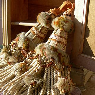 Pair large antique French 1890s silk & wool intricate passementerie key tassel + keys