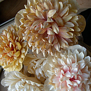 Collection 6  French convent flowers - handmade waxed paper soft pinks. Convent find - 1880s