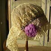 French handmade Valenciennes lace & silk rosettes flapper boudoir bonnet 1920s