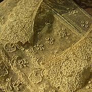 French country house estate: antique 19th Century handmade Point de Gaze lace collar & Alencon length