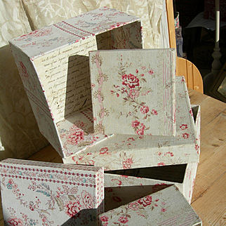 Set 3 large antique French fabric covered boudoir boxes - authentic 19th Century faded florals
