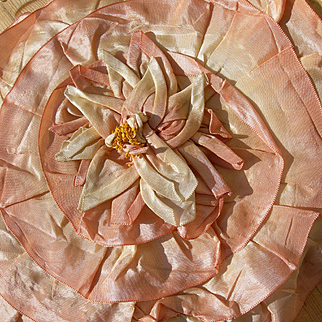 Exquisite vintage French 1920s huge ombree silky handmade ribbonwork flower