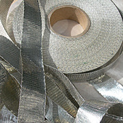 1 roll vintage French silver tone metallic lame woven ribbon 1920s - approximately 100 yards