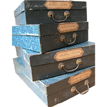 Fabulous set of 4 vintage French 1920s box file storage boxes for stacking